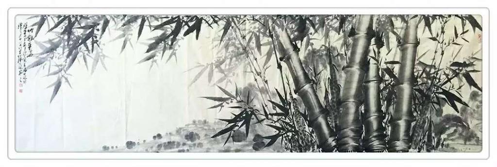 横幅竹子系列-张大林国画-彩墨鱼图片